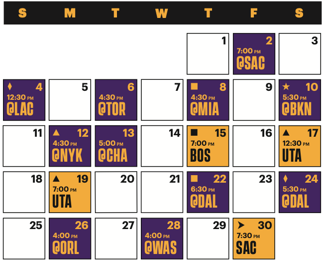 Lakers Schedule April