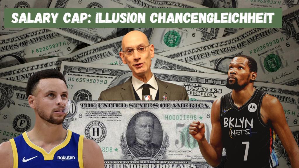 Salary Cap: Illusion Chancengleichheit. Auf dem Bild zu sehen sind Adam Silver, Stephen Curry und Kevin Durant.